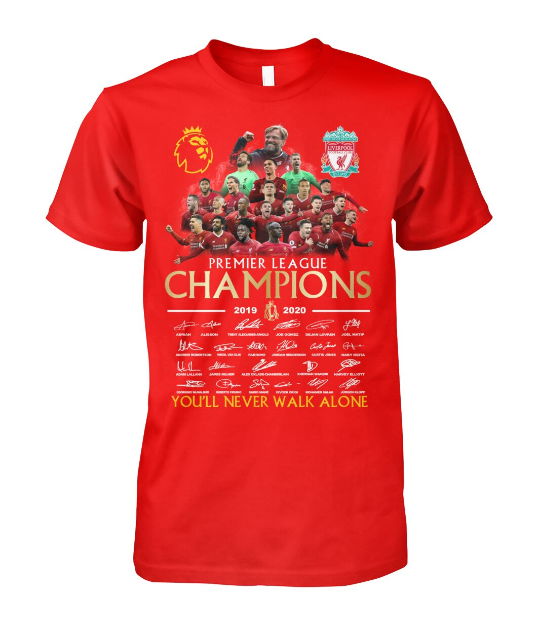 Liverpool premier league champions 2019 2020 you will never walk alone signature shirt